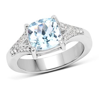 Malaika Sterling Silver 2.40-carat Genuine Blue and White Topaz Ring