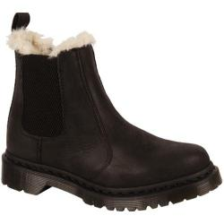 Women's Dr. Martens Leonore Fur Lined Chelsea Boot Black/Black Burnished Wyoming