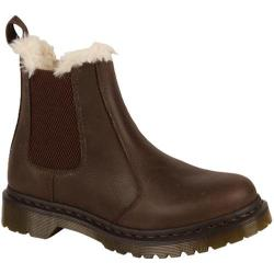 Women's Dr. Martens Leonore Fur Lined Chelsea Boot Brown/Brown Burnished Wyoming