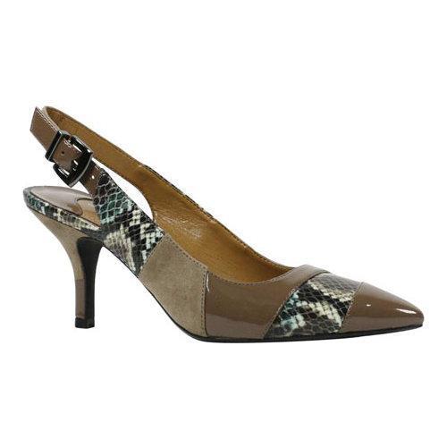12f3fd04e709b Women's J. Renee Laceyann Mid Heel Slingback Taupe/Birch Multi Snake Print  Fabric/Suede/Patent