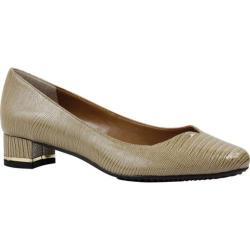 Women's J. Renee Bambalina Low Block Heel Pump Taupe Lizard Print Patent Leather