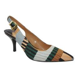 Women's J. Renee Laceyann Mid Heel Slingback Green/Tan/Gray Multi Stripe Fabric/Patent