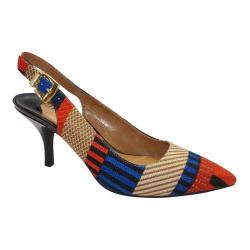 Women's J. Renee Laceyann Mid Heel Slingback Navy/Red/Tan Multi Stripe Fabric/Patent