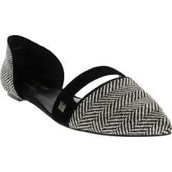 Women's Nicole Miller Merle Slip On Flat Herringbone Fabric/Black Suede