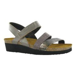 Women's Naot Krista Strappy Wedge Sandal Pewter Leather/Metal Leather