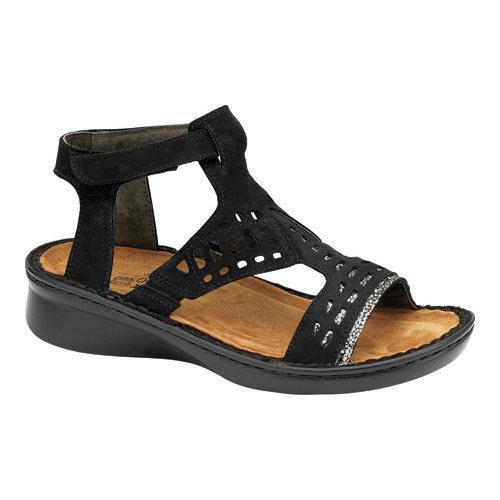 45e62b5a3c4 Shop Women s Naot String Ankle Strap Sandal Black Velvet Nubuck Silver  Pebble Leather - Free Shipping Today - Overstock - 13130923