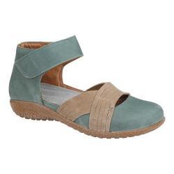 Women's Naot Tenei Ankle Strap Sea Green Leather/Khaki Beige Leather