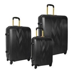 Women's Anne Klein Lafayette 3 Piece Hardside Spinner Luggage Set Jet Black