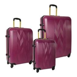 Women's Anne Klein Lafayette 3 Piece Hardside Spinner Luggage Set Purple