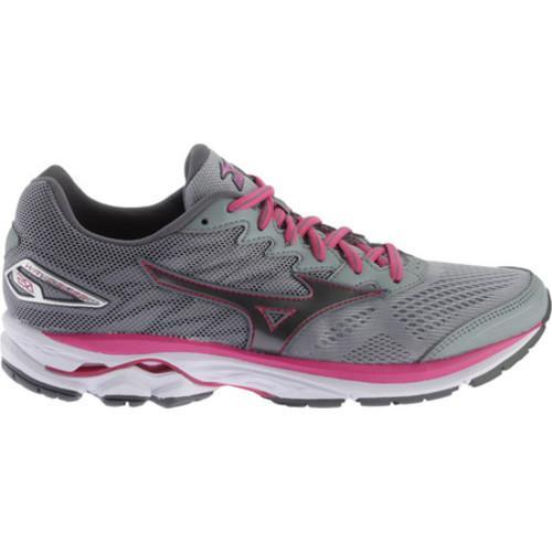 Women's Mizuno Wave Rider 20 Running Shoe Gunmetal/Fuchsia Purple - Thumbnail 1