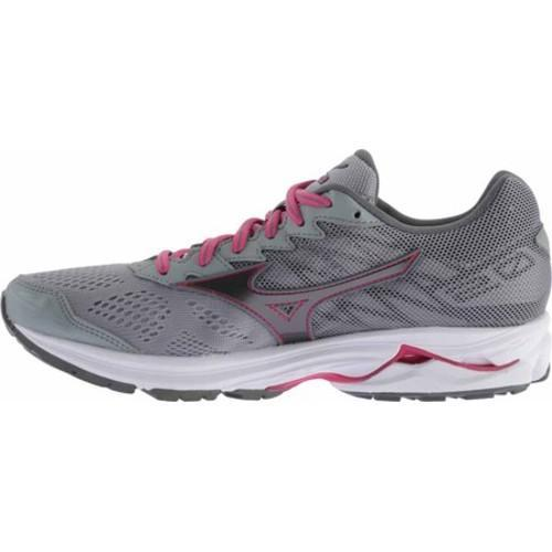 Women's Mizuno Wave Rider 20 Running Shoe Gunmetal/Fuchsia Purple - Thumbnail 2