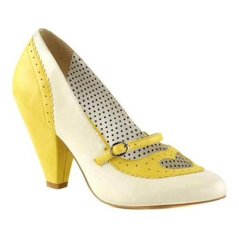 Women's Pin Up Poppy 18 Mary Jane Pump Yellow/Cream Faux Leather