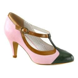 Women's Pin Up Peach 03 T-Strap Baby Pink Multi Faux Leather