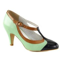 Women's Pin Up Peach 03 T-Strap Mint Multi Faux Leather