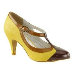 Women's Pin Up Peach 03 T-Strap Yellow Multi Faux Leather