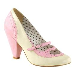 Women's Pin Up Poppy 18 Mary Jane Pump Baby Pink/Cream Faux Leather