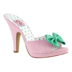 Women's Pin Up Siren 03 Slide Baby Pink/Teal Faux Leather