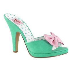Women's Pin Up Siren 03 Slide Teal/Pink Faux Leather