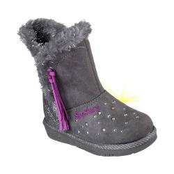Girls' Skechers Twinkle Toes Glamslam Tassle Tootsies Boot Charcoal