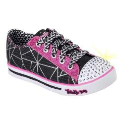 Girls' Skechers Twinkle Toes Shuffles Geometric Sneaker Black/Hot Pink