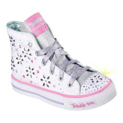Girls' Skechers Twinkle Toes Shuffles Sparkly and Sweet High Top White/Multi