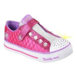 Girls' Skechers Twinkle Toes Shuffles Sparkly Jewels Slip On Shoe Hot Pink/Purple