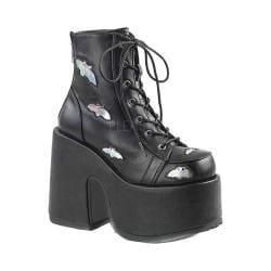 Women's Demonia Camel 201 Platform Ankle Bootie Black/Silver Hologram Vegan Leather