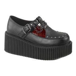 Women's Demonia Creeper 215 T-Strap Black Vegan Leather