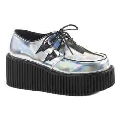 Women's Demonia Creeper 218 Lace-Up Silver Hologram/Black Vegan Leather