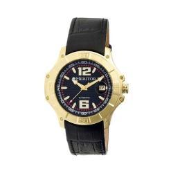 Men's Heritor Automatic HR3004 Norton Watch Black Crocodile Leather/Black/Gold