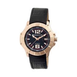 Men's Heritor Automatic HR3006 Norton Watch Black Crocodile Leather/Black/Rose Gold