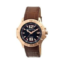 Men's Heritor Automatic HR3008 Norton Watch Brown Crocodile Leather/Black/Rose Gold