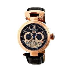 Men's Heritor Automatic HR3306 Ganzi Watch Black Crocodile Leather/Black/Blue