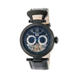 Men's Heritor Automatic HR3307 Ganzi Watch Black Crocodile Leather/Black/Blue