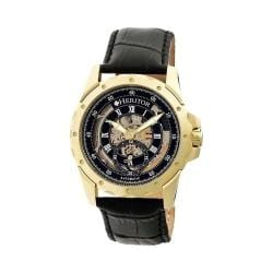 Men's Heritor Automatic HR3404 Armstrong Watch Black Crocodile Leather/Black/Gold