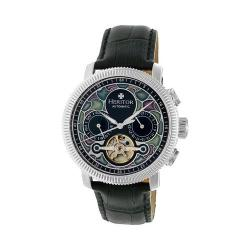 Men's Heritor Automatic HR3501 Aura Watch Black Crocodile Leather/Multicolor/Silver