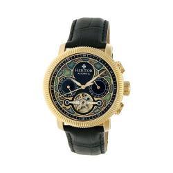 Men's Heritor Automatic HR3502 Aura Watch Black Crocodile Leather/Multicolor/Gold