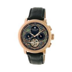 Men's Heritor Automatic HR3503 Aura Watch Black Crocodile Leather/Multicolor/Rose Gold