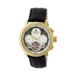Men's Heritor Automatic HR3505 Aura Watch Black Crocodile Leather/Multicolor/Gold