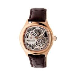 Men's Heritor Automatic HR3707 Odysseus Watch Dark Brown Crocodile Leather/Silver/Rose Gold