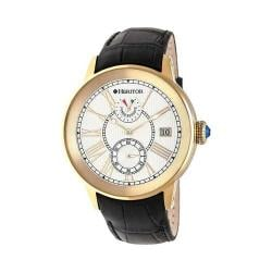 Men's Heritor Automatic HR4303 Madison Watch Black Crocodile Leather/Silver/Gold
