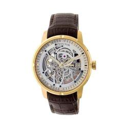 Men's Heritor Automatic HR4605 Ryder Watch Dark Brown Crocodile Leather/Silver/Gold