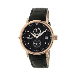 Men's Heritor Automatic HR4707 Leopold Watch Black Crocodile Leather/Black/Rose Gold