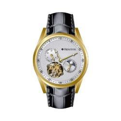 Men's Heritor Automatic HR4903 Alexander Watch Black Crocodile Leather/Silver/Gold