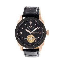Men's Heritor Automatic HR5009 Helmsley Watch Black Crocodile Leather/Black/Rose Gold