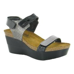 Women's Naot Miracle Grey Lizard/Black Patent/Metallic Road Leather