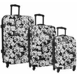 Women's Nine West Emi 3-Piece Hardside Luggage Set White/Black