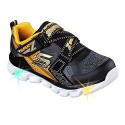 Boys' Skechers S Lights Hypno-Flash Z Strap Sneaker Charcoal/Gold