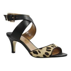 Women's J. Renee Soncino Criss Cross Ankle Strap Mid Heel Sandal Brown/Black Faux Leopard Hair
