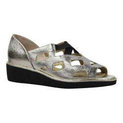 Women's J. Renee Valenteena Platform Wedge Sandal Taupe/Metallic Gold Leather